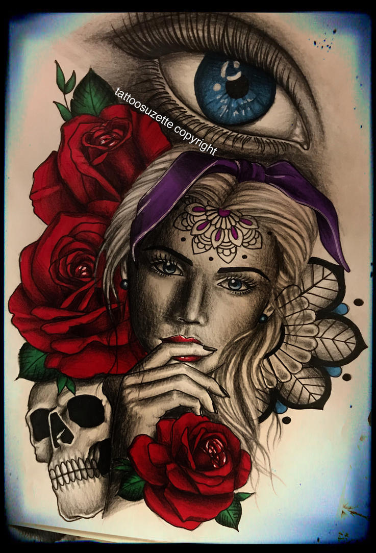 tatouage catrina santa muerte tattoo by tattoosuzette on. Black Bedroom Furniture Sets. Home Design Ideas