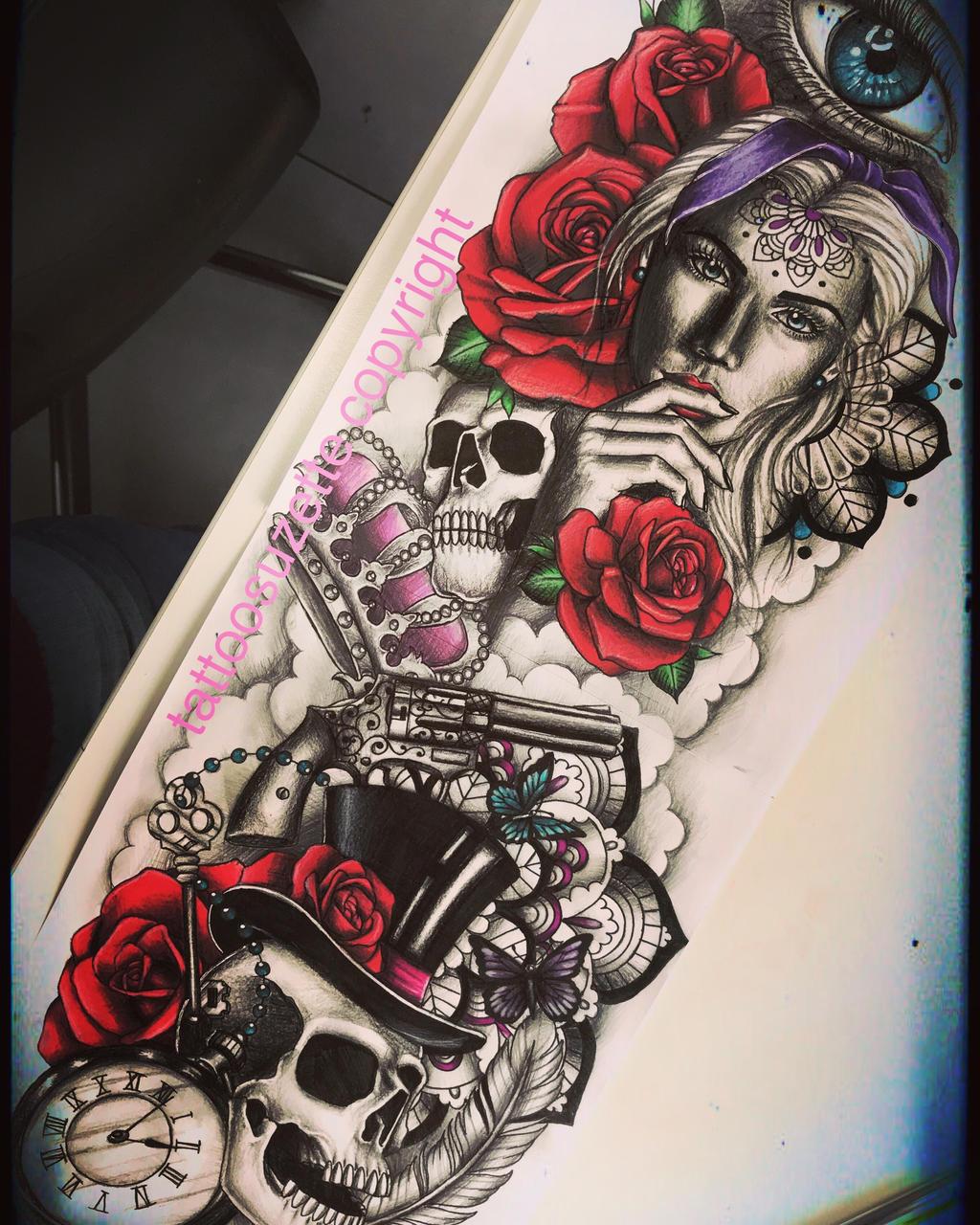 Tatouage Bras Complet Rose Tete De Mort By Tattoosuzette On