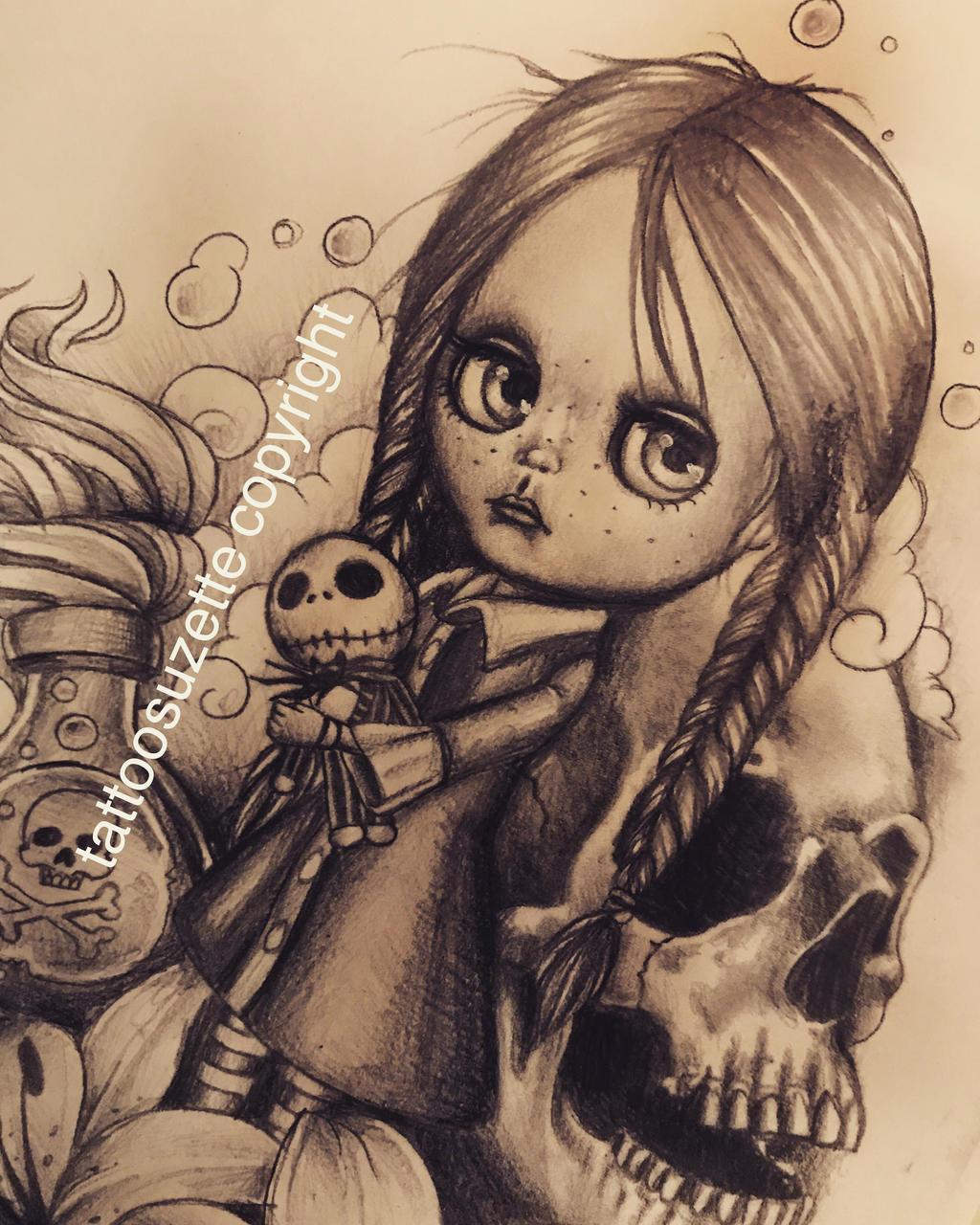 Wednesday Jack Skellington Tattoo Design By Tattoosuzette