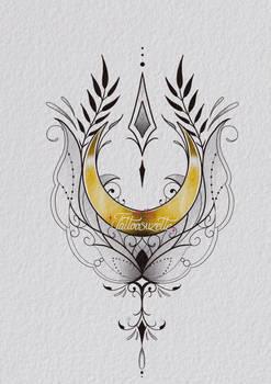 Tatouage lune mandala