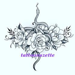 tatouage serpent fleurs