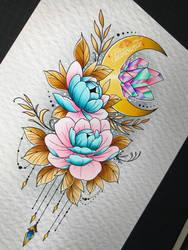 tatouage lune fleurs