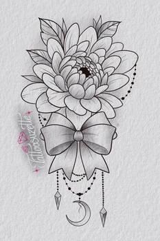 Tatouage fleur noeud