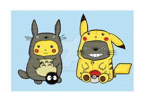 Totoro and Pikachu Onesies