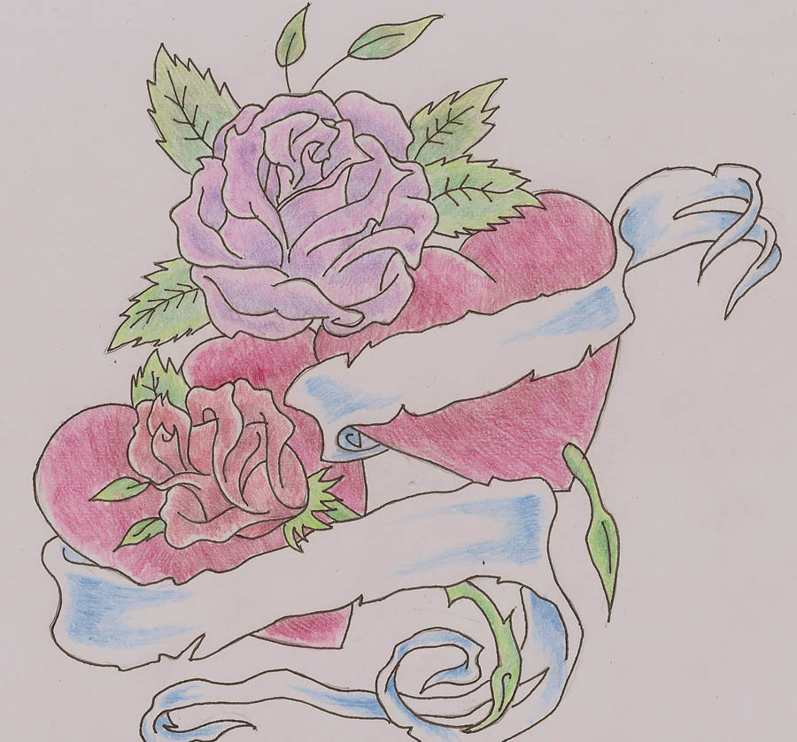 Heart With Rose And Banner: Heart And Rose Banner Tattoo Desing By Darkgazer622 On
