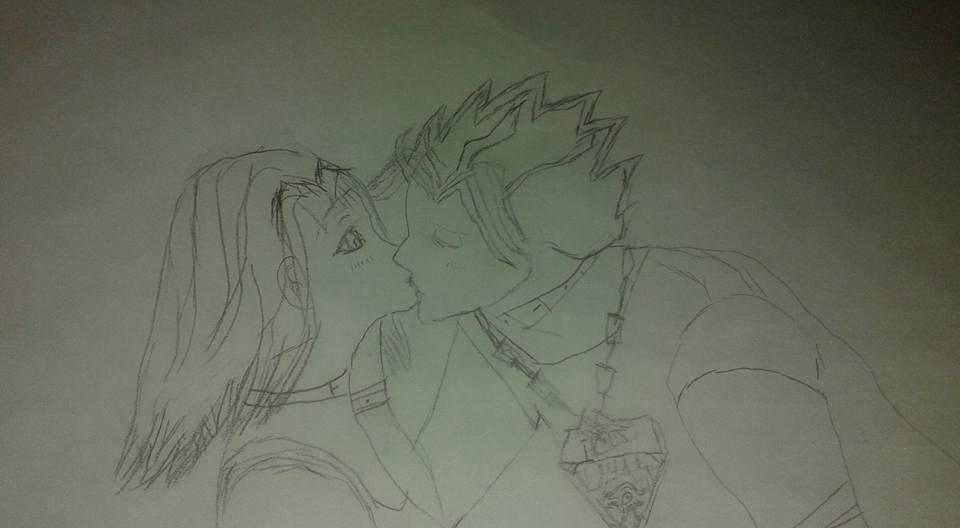 Yami Yuugi x Anzu (Tea) Kiss without color by Spiderzwebz