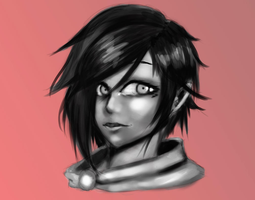 rwby___ruby_rose__bw_sketch__by_kindredc