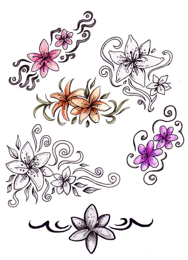 Flower tattoo designs by Niuniente