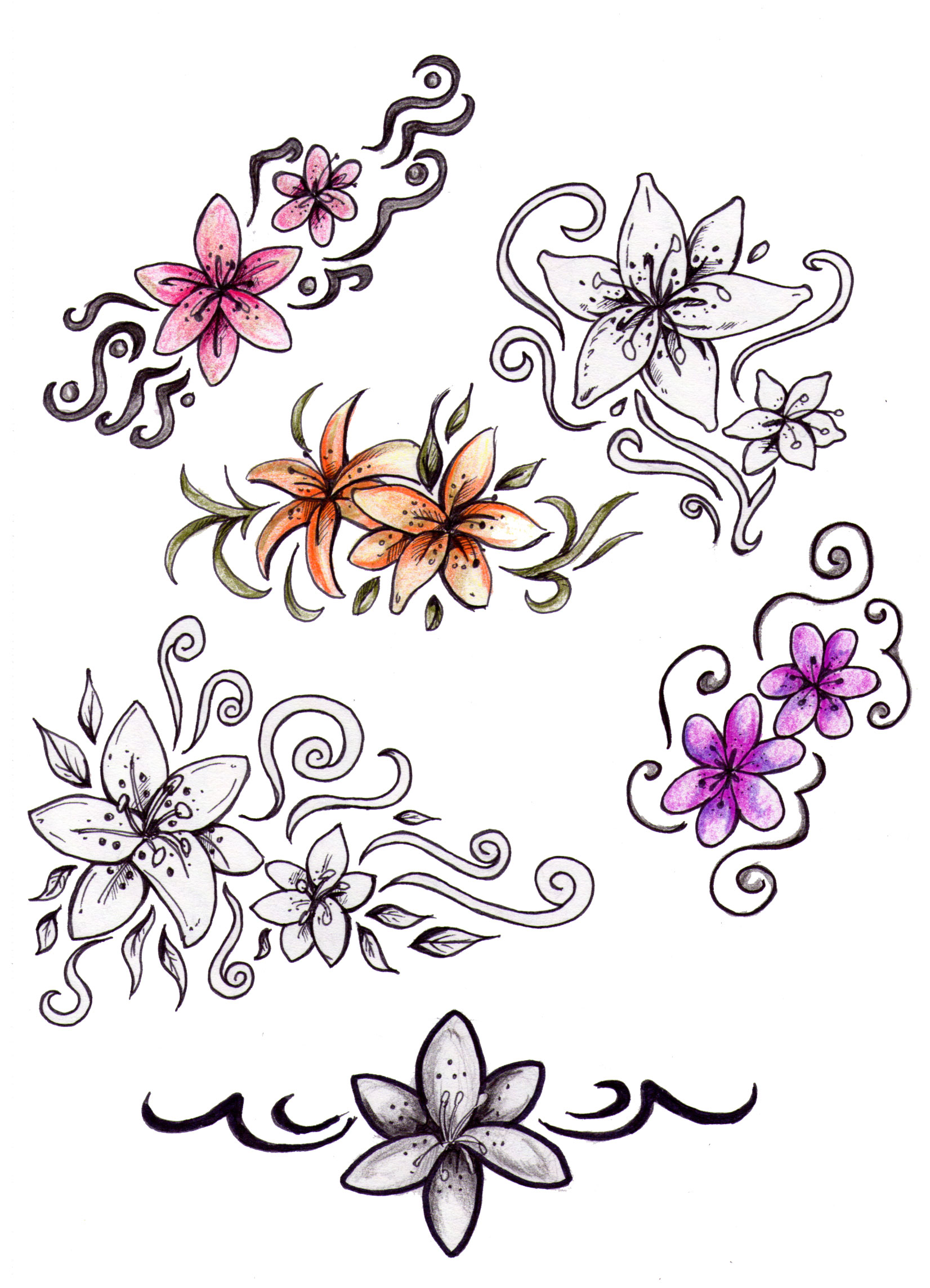 Marlen guide lily flower tattoo designs 2009 cool drawing flower tattoo designs izmirmasajfo