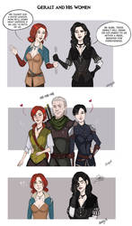 Geralt and his women by Adelaiy