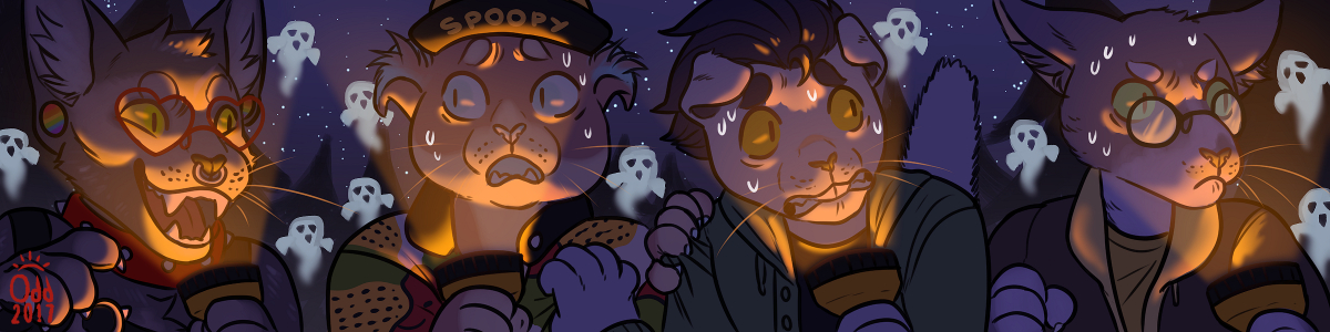 [commission] Spooky Cat Squad by oddthesungod