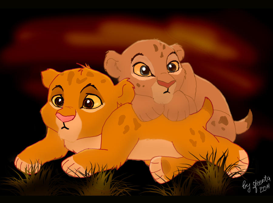 galeria de imagenes hermosas ,curiosas y extrañas  Simba_and_nala_cubs_by_qeenta-d3l1re3