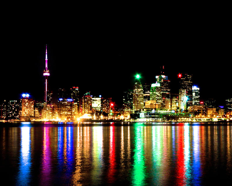 Toronto Skyline At Night From Polson St No 2 by thelearningcurve-da