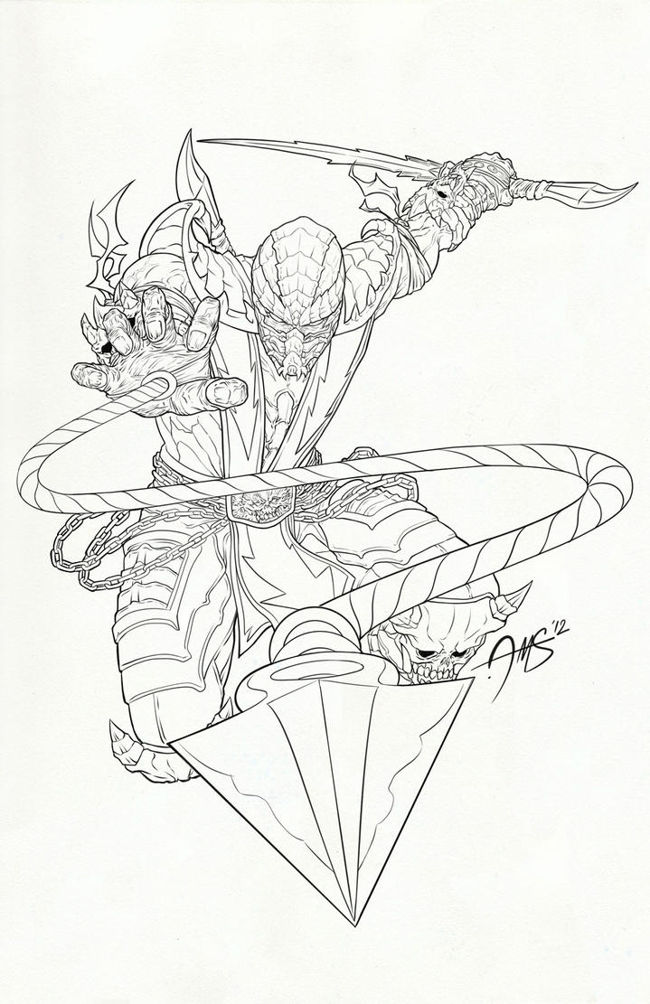 Line Drawing Vs Value Drawing : Scorpion mk lineart by amosrachman on deviantart