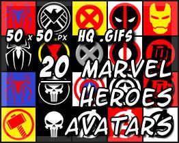 20 Marvel Superhero Avatars by decibelfx