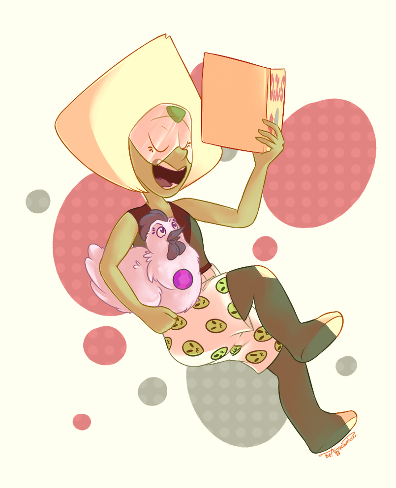 Peridot with her book of memes and bad chicken jokes (Amethyst approves)