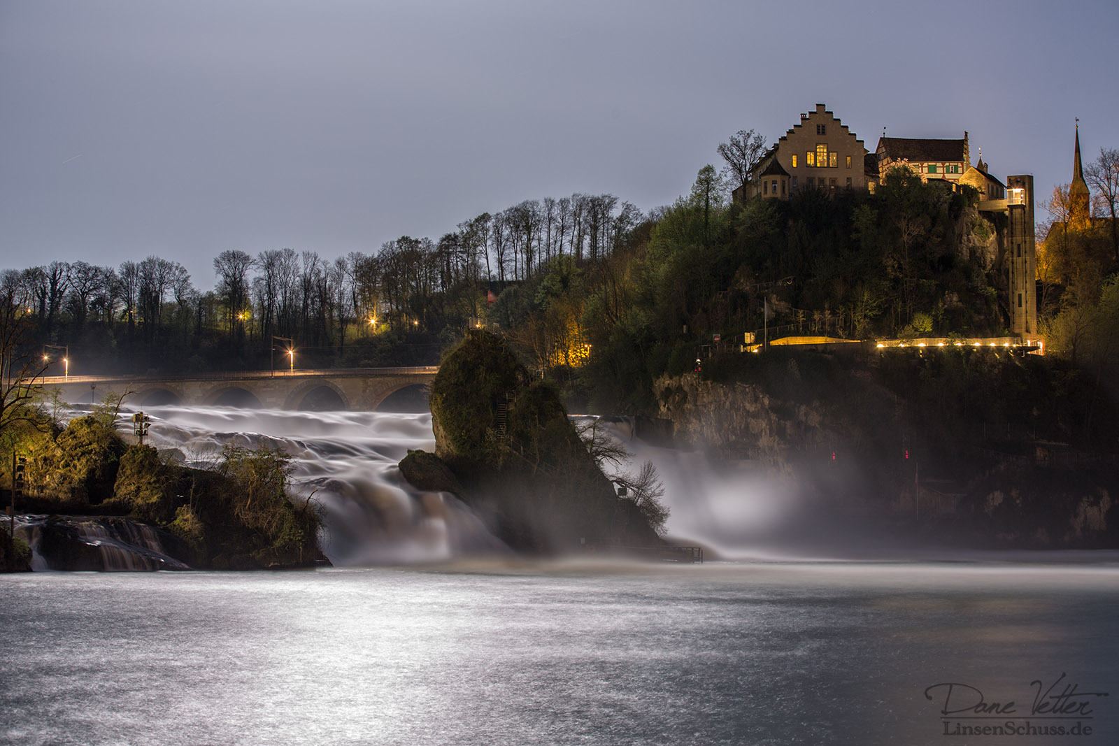 The Rhine Falls in the moonlight