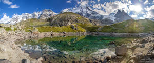 The crystal clear mountain lake