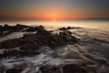 The rocks in the wild ocean