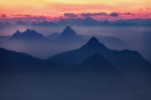 The silhouettes of the mountains