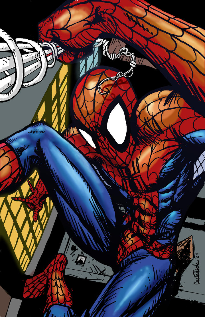 Spidey above it all colored by Sapoman