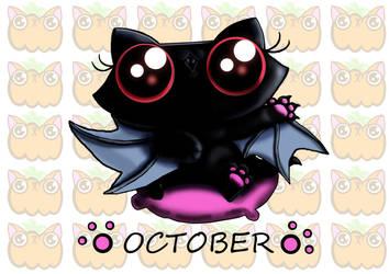 Funny cat kitten vampire bat calendar page by KingZoidLord