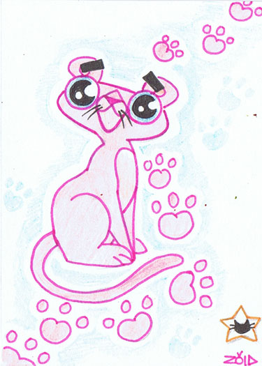 Funny cat Pink Panther ACEO by KingZoidLord on deviantART - photo#14