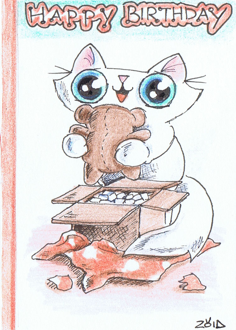 ACEO Funny Cat Birthday Card By KingZoidLord On DeviantArt