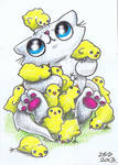 Funny cat covered in Easter chicks  ACEO
