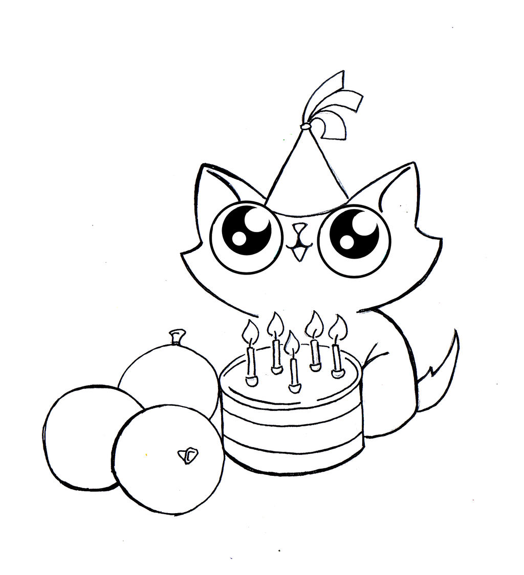 Funny Cat Birthday Line Art 2 By KingZoidLord On DeviantArt