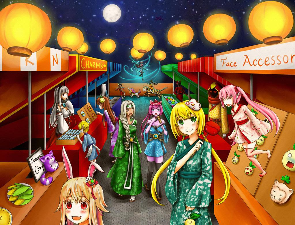 [Aura Kingdom Art Contest] Tanuki Matsuri by RaineScarlet