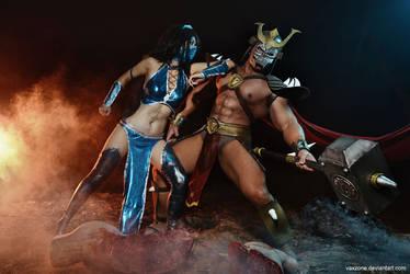 Mortal Kombat - Kitana vs Shao Kahn by vaxzone