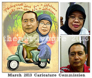 March 2013 Caricature Commission : Anniversary by thenerdyogre