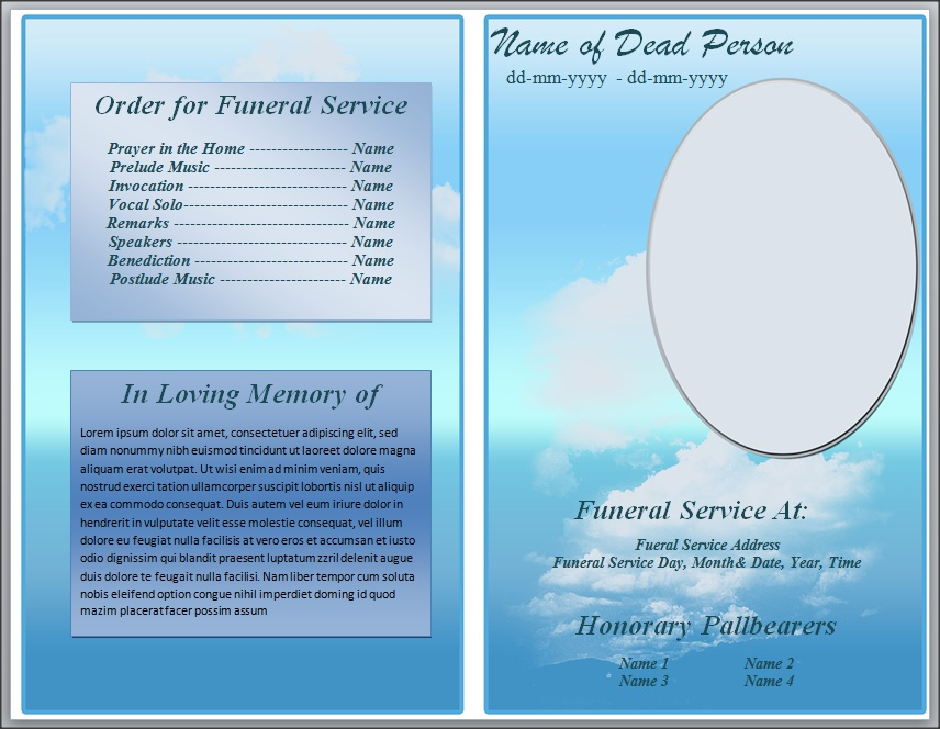 death resolution template - free blue cloud funeral program template for word by
