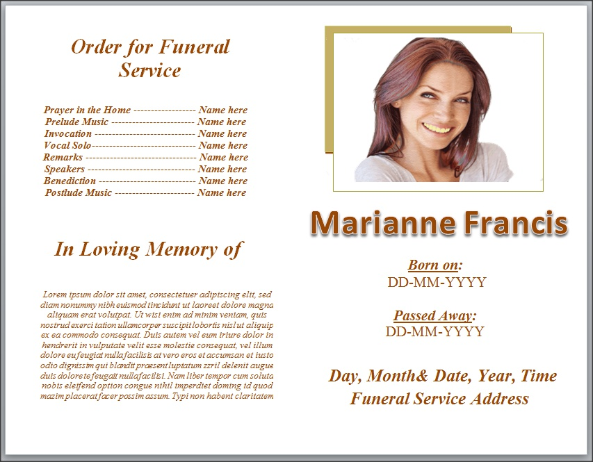 Funeral Pamphlet Templates  Free Funeral Program Templates