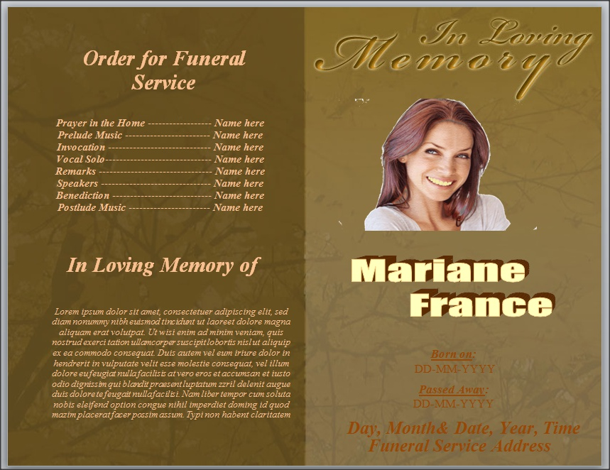 Free Template For Order For Funeral Service Word By Sammbither On