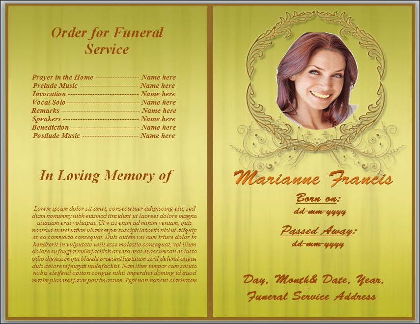 Yellow Background Funeral  Memorial Program By Sammbither On Deviantart
