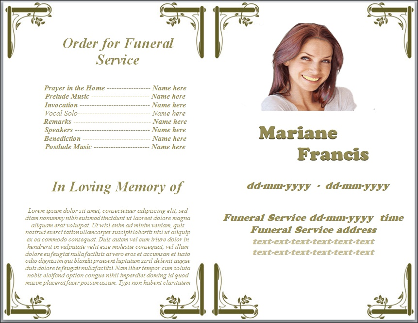 plain funeral program template – Free Funeral Announcement Template