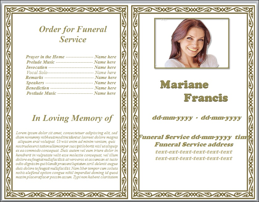 Memorial Pamphlet Template Free How to Make a Funeral Memorial – Memorial Service Template Word
