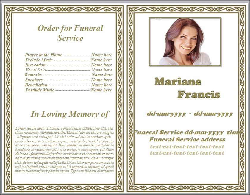 Ethnic Frame Border Funeral Memorial Program By
