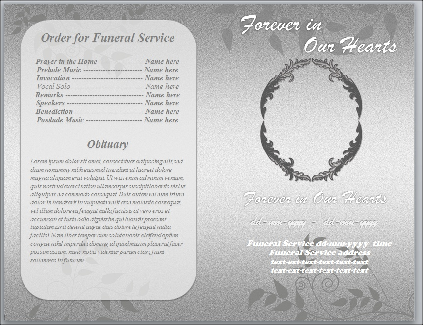 Grey Foliage Funeral Program Template Word Letter by sammbither on ...