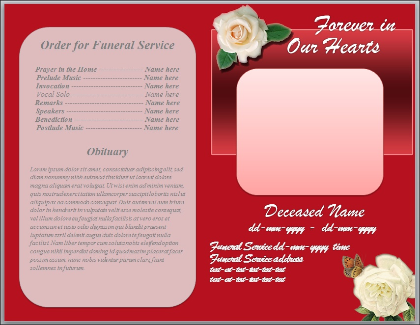 White Rose Funeral Program Template Word by sammbither on DeviantArt – Free Funeral Program Templates for Word