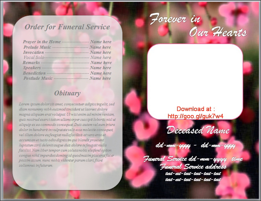 Funeral Bulletin Template For Obituary Program By Sammbither ...  Free Printable Obituary Program Template