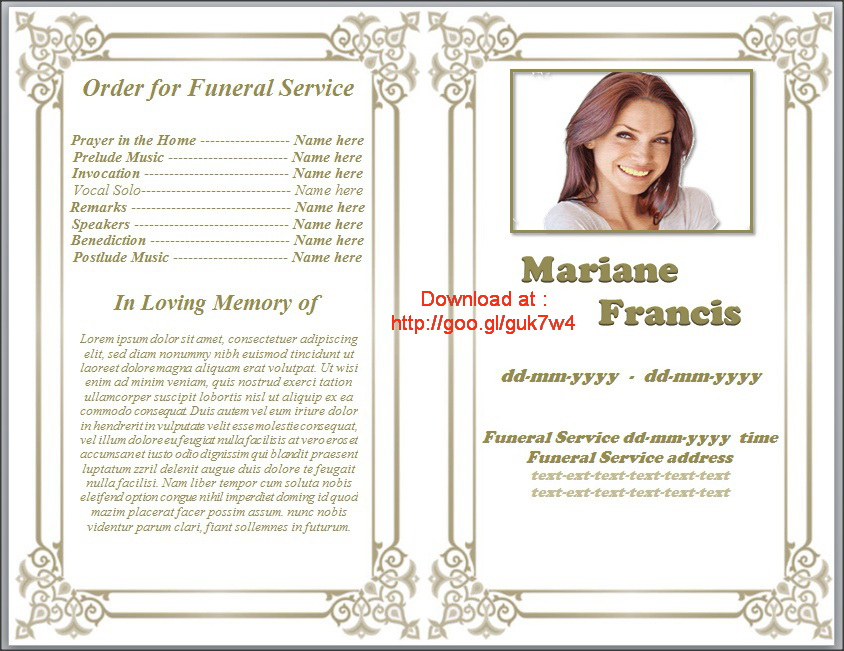 free downloadable funeral program templates - printable funeral program template free download by