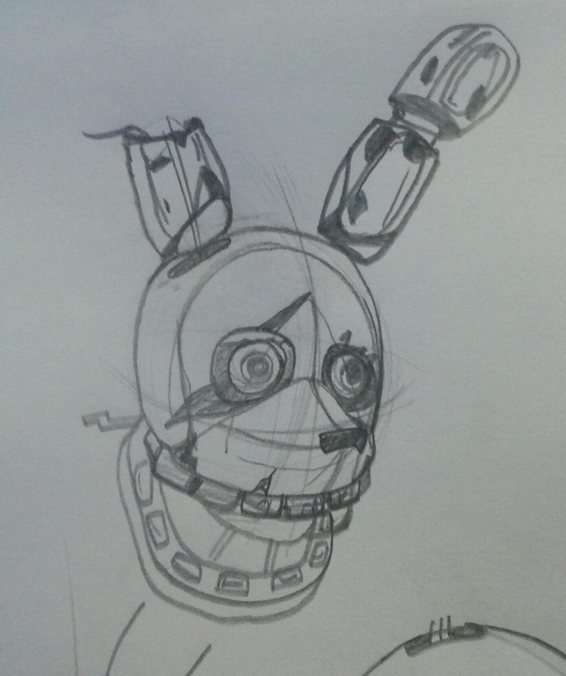 Springtrap Head Ref Sketch  by Agentwolfman626