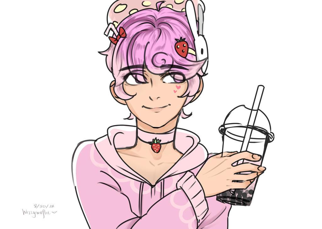 how to make strawberry boba milk tea