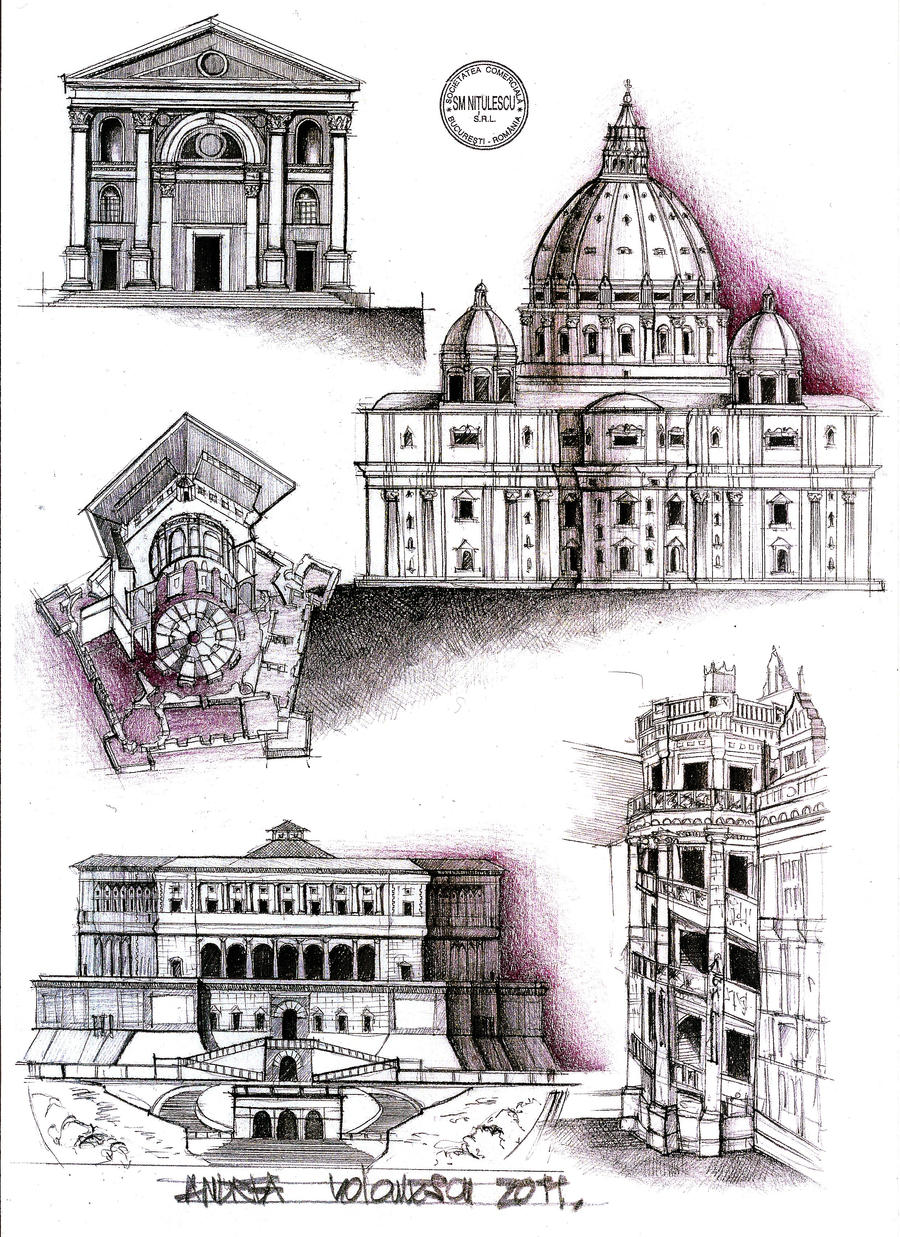 Rome cross section and columns on pinterest for Architecture renaissance