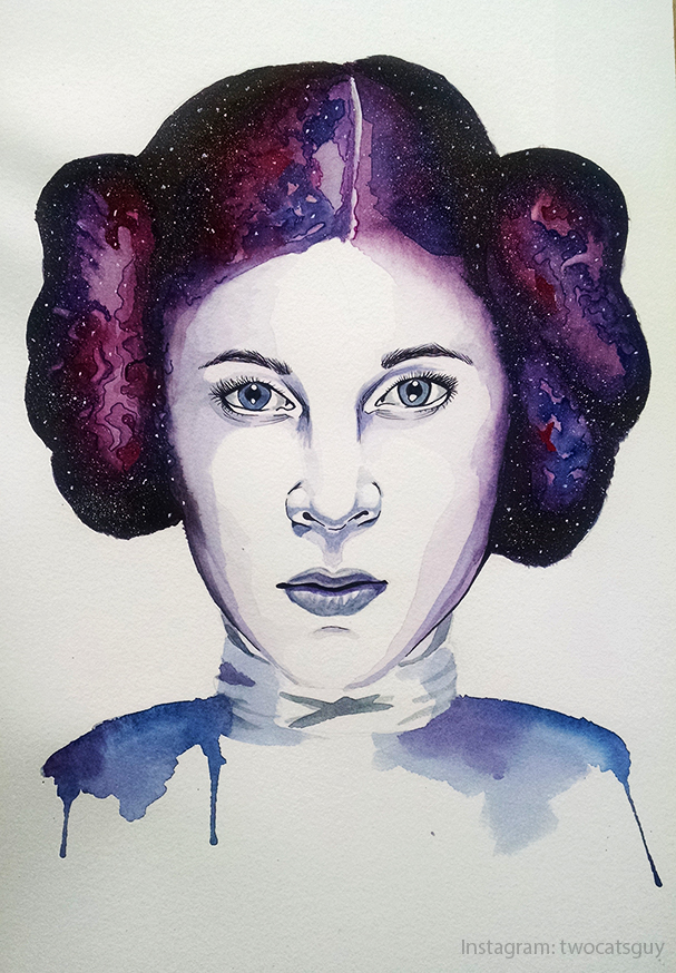 Princess Leia Watercolor by allstarrunner