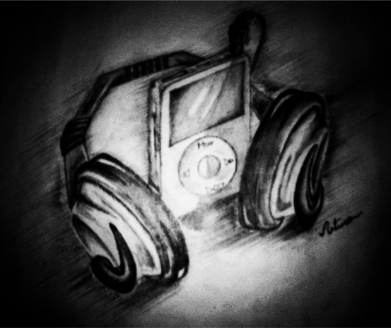 Ipod and Headphones by GatoDelCielo on DeviantArt