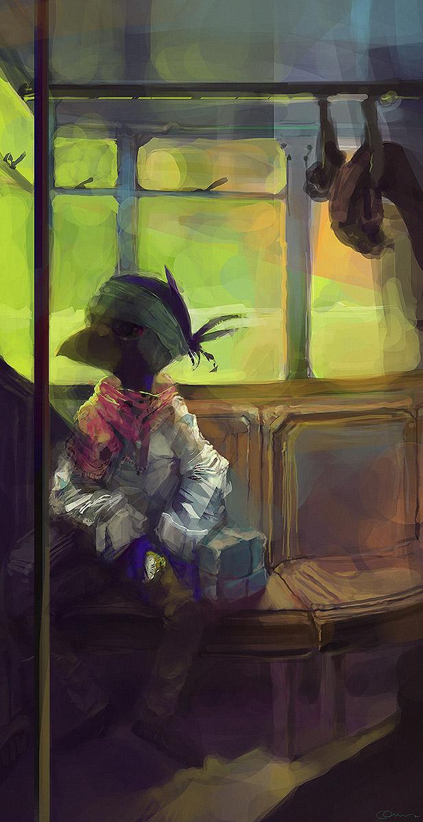 A Bird in the bus by GatoDelCielo